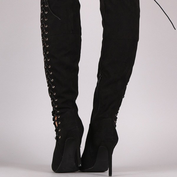 Women's Black Thigh High Lace up Boots Suede Stiletto Heels by FSJ image 4