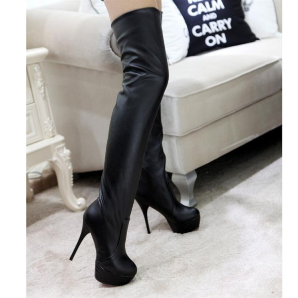 Black Thigh High Heel Boots Platform Stiletto Heel Long Boots image 2