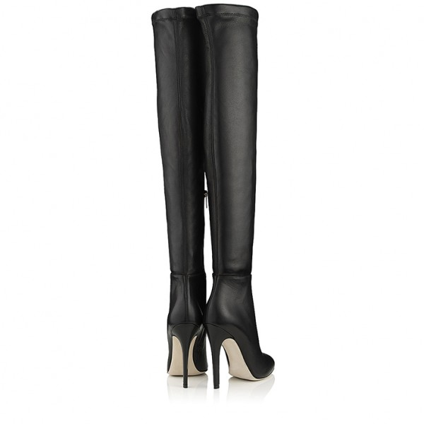 Black Stiletto Boots Pointed Toe Sexy Over-the-Knee Boots for Women image 5