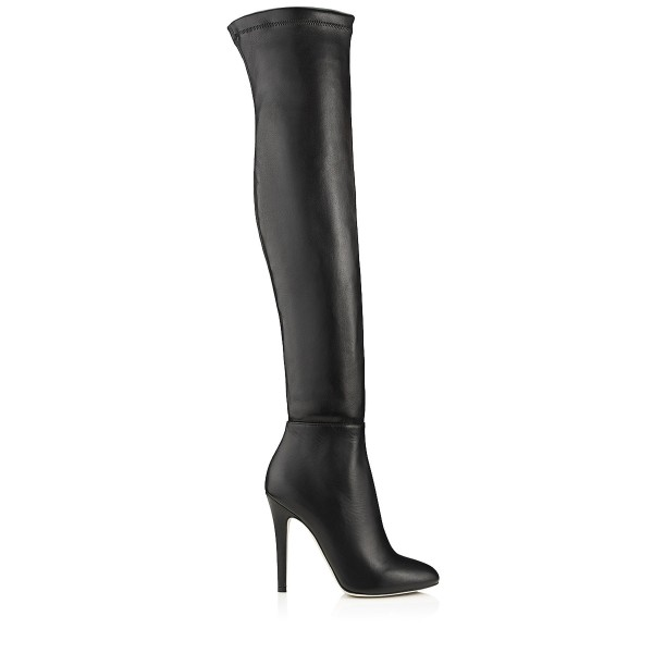 Black Stiletto Boots Pointed Toe Sexy Over-the-Knee Boots for Women image 3