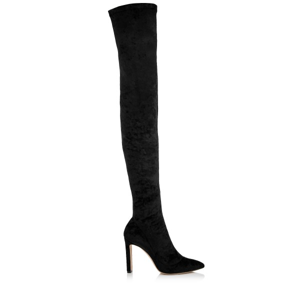 Black Velvet Thigh High Heel Boots Chunky Heels Sexy Pointy Toe Boots  image 3