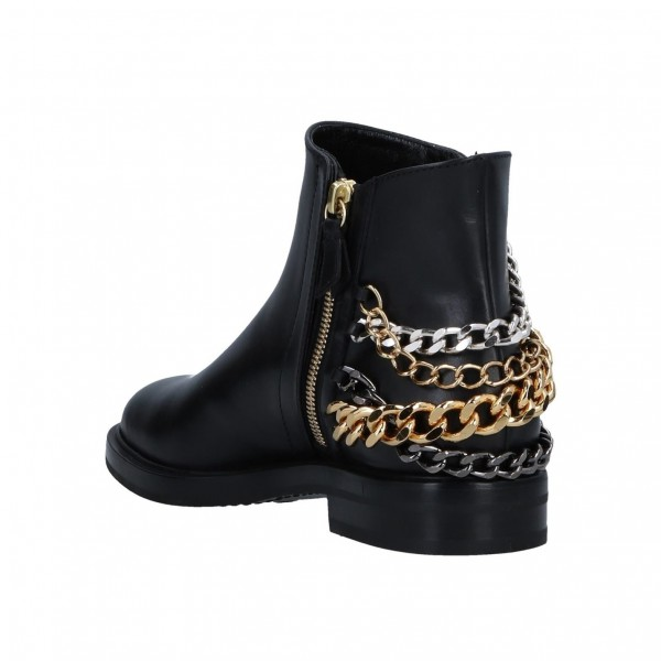 Black Three Chains Flat Ankle Booties image 3