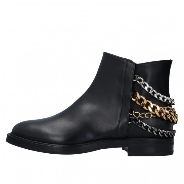 Black Three Chains Flat Ankle Booties image 4