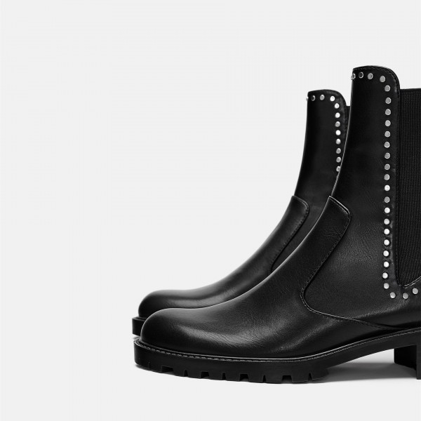 Black Vegan Leather Chelsea Boots Round Toe Studs Ankle Boots image 3
