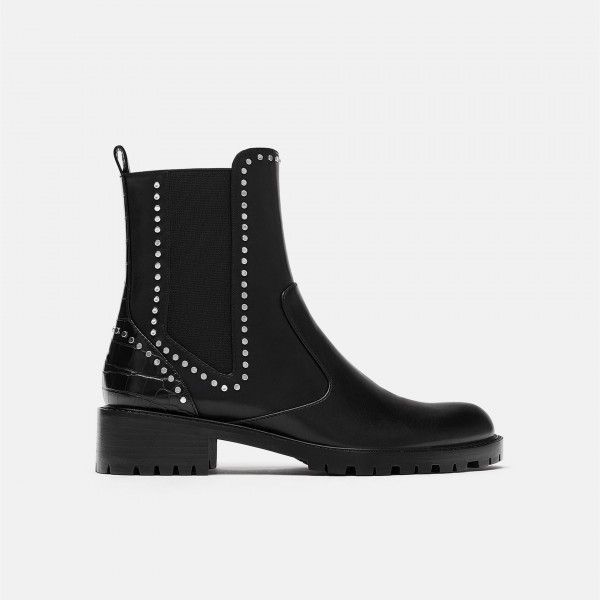Black Vegan Leather Chelsea Boots Round Toe Studs Ankle Boots image 2