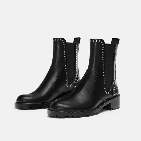 Black Vegan Leather Chelsea Boots Round Toe Studs Ankle Boots image 1