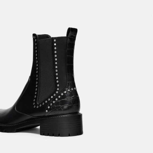 Black Vegan Leather Chelsea Boots Round Toe Studs Ankle Boots image 4