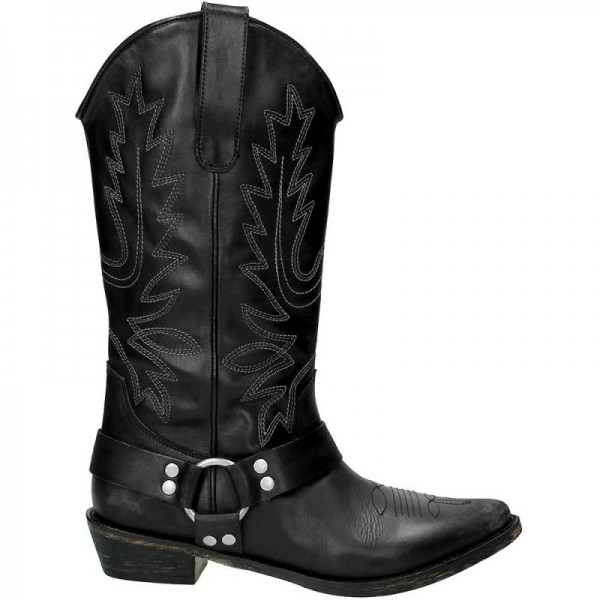 Black Vegan Leather Cowgirl Boots Low Heel Mid Calf Boots image 2