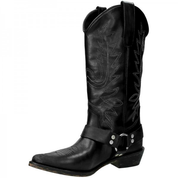 Black Vegan Leather Cowgirl Boots Low Heel Mid Calf Boots image 3