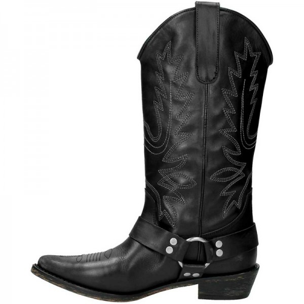Black Vegan Leather Cowgirl Boots Low Heel Mid Calf Boots image 4