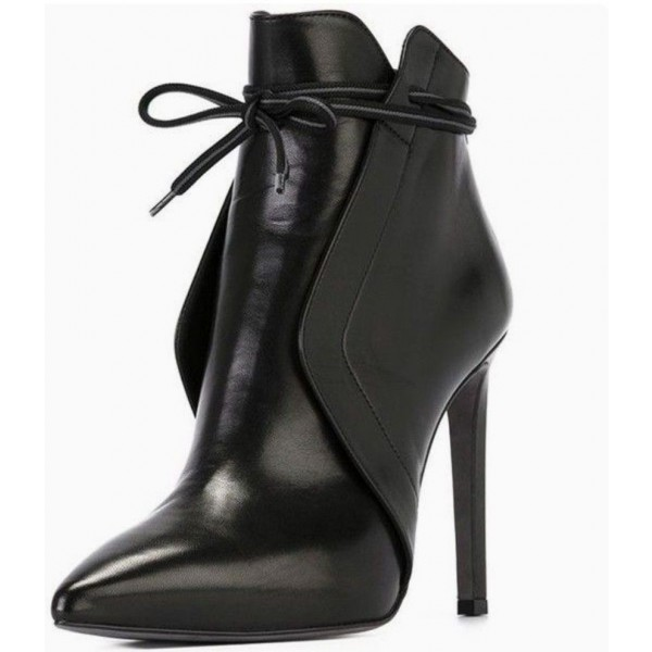 Black Vegan Leather Stiletto Boots Pointy Toe Ankle Booties for Work image 1