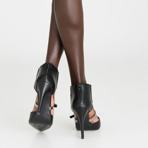 Black Vegan Leather Summer Stiletto Boots Fashion Ankle Boots image 5