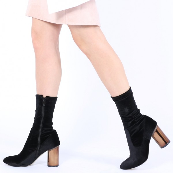 b4a77161357 Black Velvet Boots Cylindrical Heel Fashion Ankle Boots