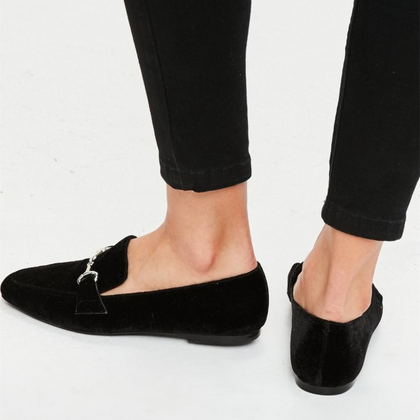 Black Velvet Square Toe Flats Loafers for Women image 2