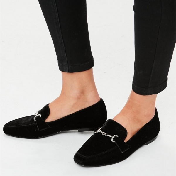 Black Velvet Square Toe Flats Loafers for Women image 1