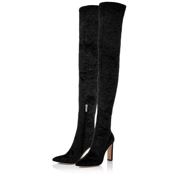 Black Velvet Thigh High Heel Boots Chunky Heels Sexy Pointy Toe Boots  image 1