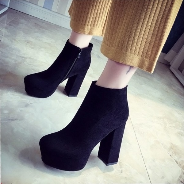 Fashion Black Vintage Boots Block Heel Suede Ankle Boots image 1