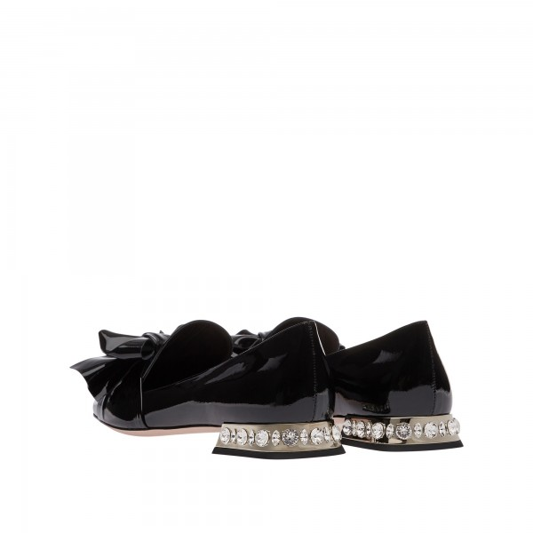 Black Vintage Bow Patent Leather Loafers for Women  image 3
