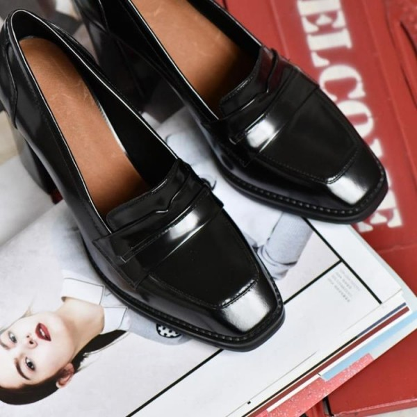 Black Patent Leather Block Heel Square Toe Heeled Loafers for Women image 2
