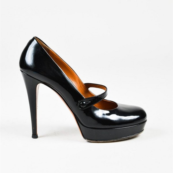 Women's Black Mary Jane Pumps Stiletto Heels Vintag Platform Pumps image 2