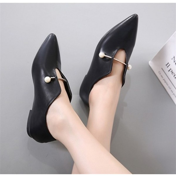 Women's Black Pointed Toe Elegant Vintage Comfortable Flats image 2