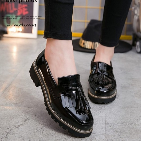 Black Vintage Shoes Comfortable Fringe Flats for Girls image 5
