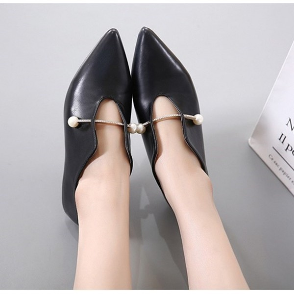Women's Black Pointed Toe Elegant Vintage Comfortable Flats image 3