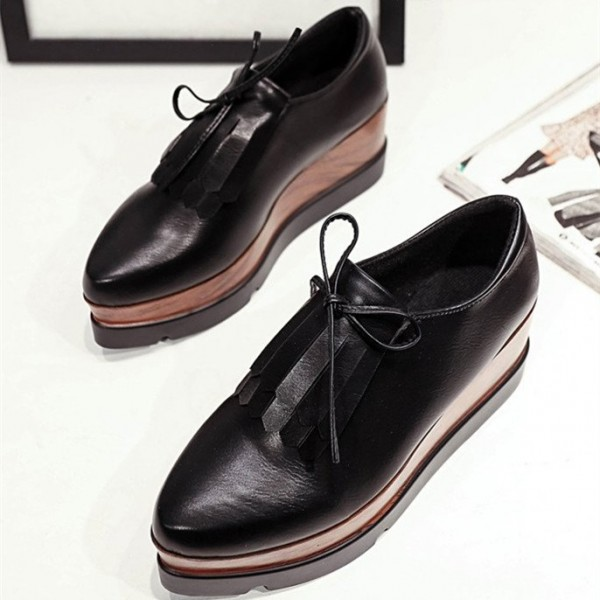 Black Vintage Shoes Fringe Oxfords Platform Shoes image 1