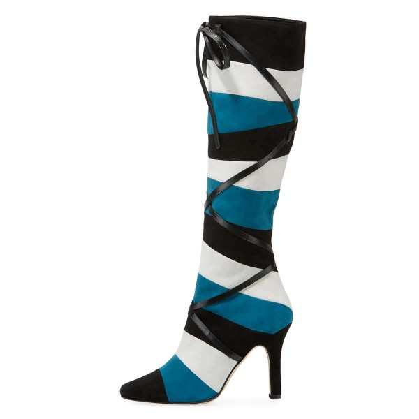 Black White Blue Three-tone Strap Long Boots Stiletto Knee-high Boots image 2