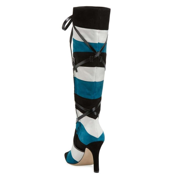 Black White Blue Three-tone Strap Long Boots Stiletto Knee-high Boots image 3