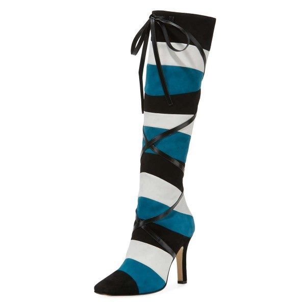 Black White Blue Three-tone Strap Long Boots Stiletto Knee-high Boots image 1
