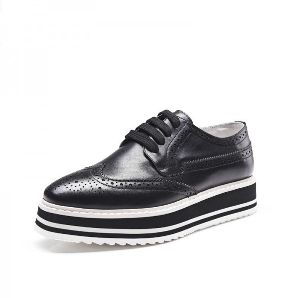 a62a049d Black Women's Oxfords Lace-up Square Toe Platform Shoes for Work ...