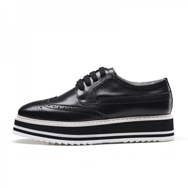 Black Women's Oxfords Lace-up Square Toe Platform Shoes image 2