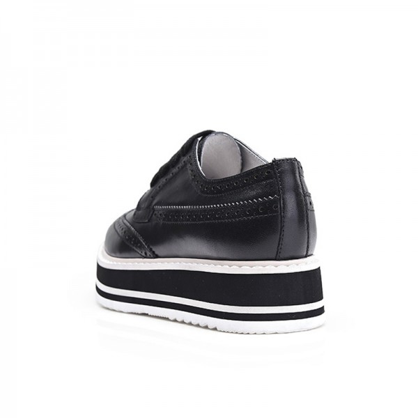 Black Women's Oxfords Lace-up Square Toe Platform Shoes image 3