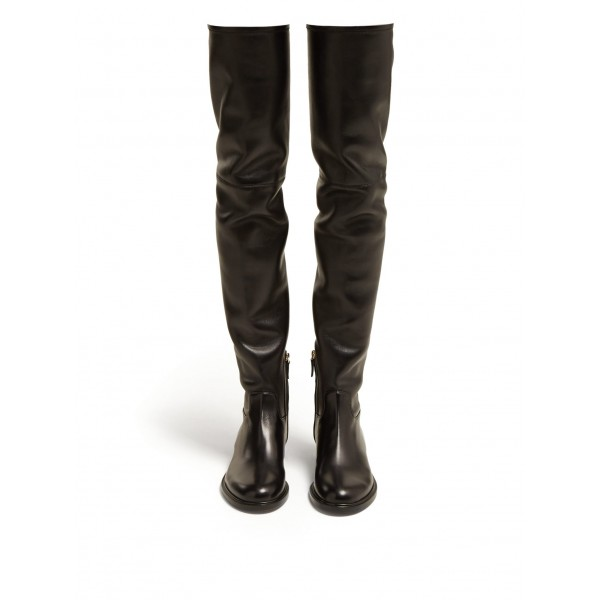 Black Zip Flat Thigh High Boots image 2