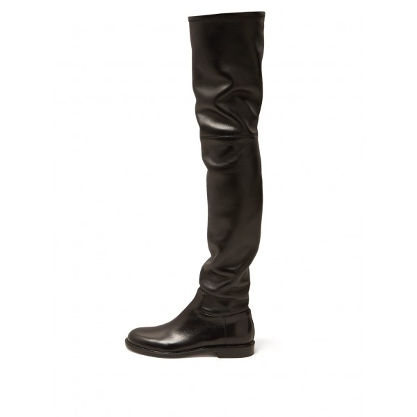 Black Zip Flat Thigh High Boots image 1