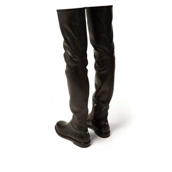 Black Zip Flat Thigh High Boots image 4