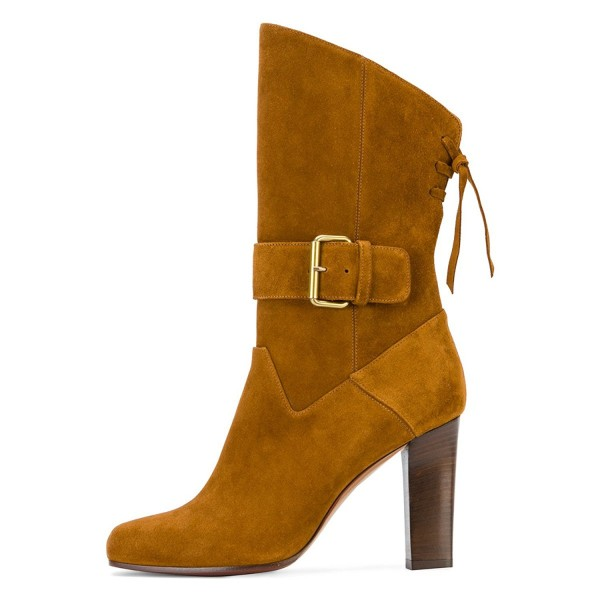 Tan Boots Suede Back Lace up Fashion Chunky Heel Mid Calf Boots image 3