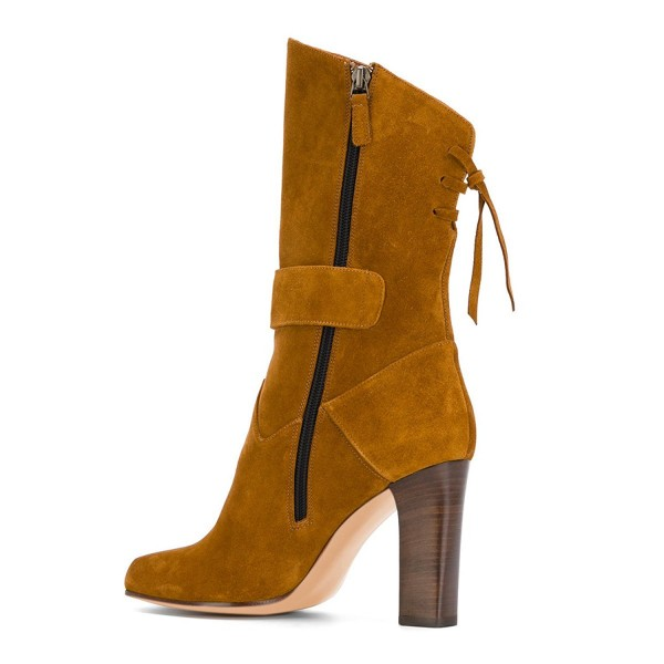 Tan Boots Suede Back Lace up Fashion Chunky Heel Mid Calf Boots image 4
