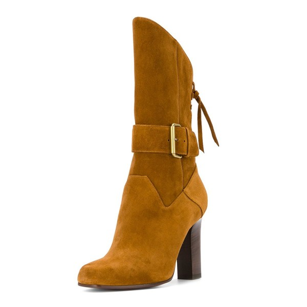 Brown Buckle Chunky Heel Boots Suede Round Toe Comfortable Booties image 1
