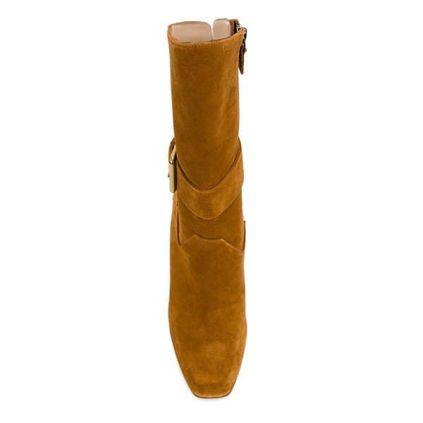 Tan Boots Suede Back Lace up Fashion Chunky Heel Mid Calf Boots image 2