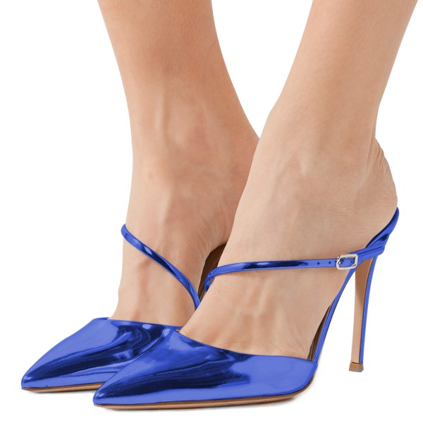 Blue Mirror Leather Pointy Toe Mule