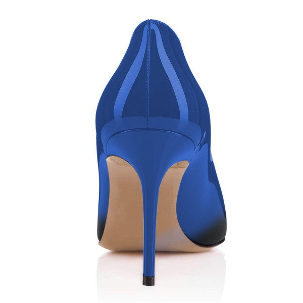 On Sale Blue and Black Gradient Stiletto Heels Round Toe Pumps image 3