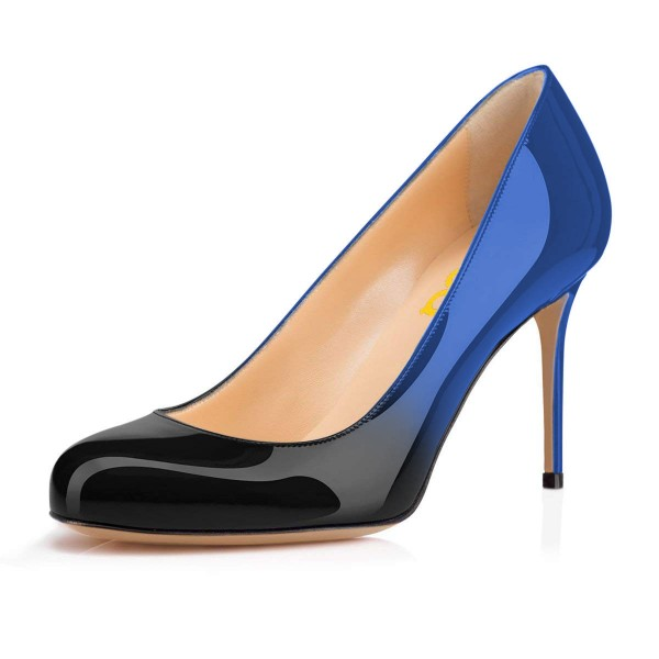 On Sale Blue and Black Gradient Stiletto Heels Round Toe Pumps