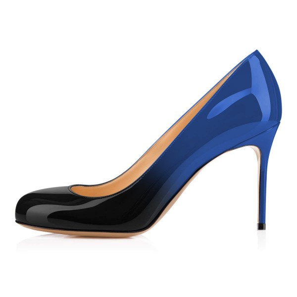 On Sale Blue and Black Gradient Stiletto Heels Round Toe Pumps image 2