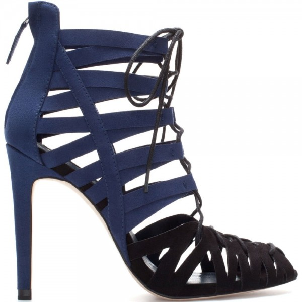 Blue and Dark Brown Lace up Sandals Suede Stiletto Heels for Women image 6