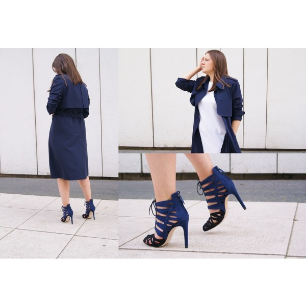 Blue and Dark Brown Lace up Sandals Suede Stiletto Heels for Women image 5