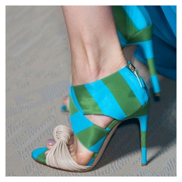 Blue and Green Evening Shoes Stripes Open Toe Stiletto Heel Sandals image 1