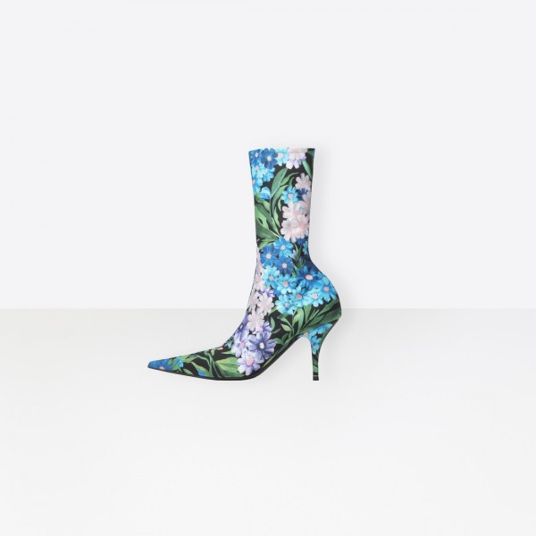 Floral Sock Boots Pointy Toe Lycra Fashion Booties US Size 3-15 image 1