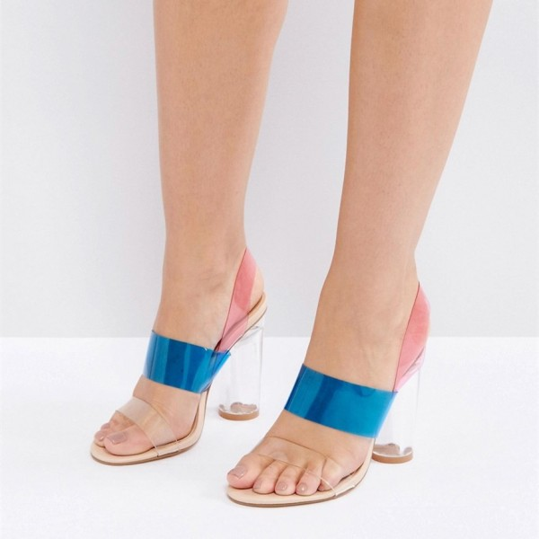 Blue and Pink PVC Chunky Heel Clear Sandals Slingback Heels Sandals image 1